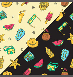 hand drawn seamless summer time theme pattern vector image