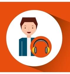 headphones music cartoon guy happy vector image