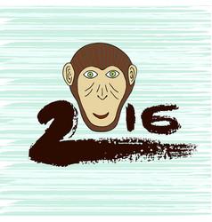 New year print monkey symbol hand drawn ink 2016 vector