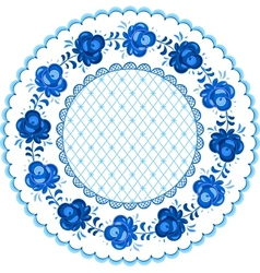 Russian traditional plate in gzhel style vector image vector image