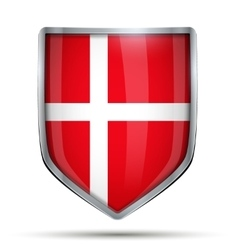 Shield with flag Denmark vector image vector image