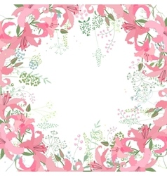 Square frame with contour lilies and herbs on vector image