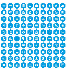 100 winter shopping icons set blue vector