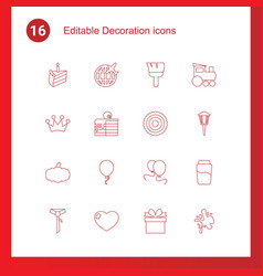 16 decoration icons vector image