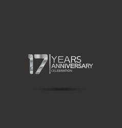 17 years anniversary logotype with silver color vector