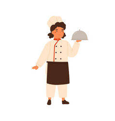 Adorable children little chef cute girl in vector