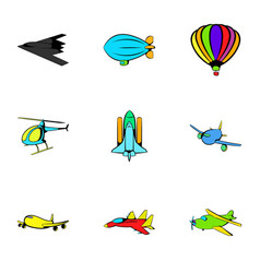 aircraft icons set cartoon style vector image