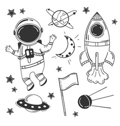 astronaut cartoon space set vector image
