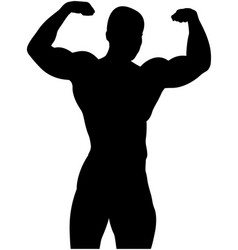 Athletic bodybuilder pose double biceps vector