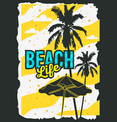 beach summer poster design with palm trees and vector image