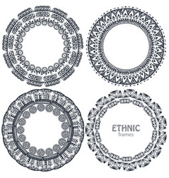beautiful round frames set with hand drawn ethnic vector image