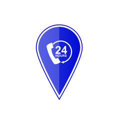 blue map pointer 24 hour call center vector image