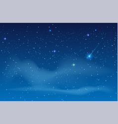blue night starry sky bright star to fall vector image