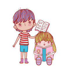 Boy with open book and girl sitting reading vector