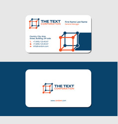 Business card chemistry blue and orange colors vector
