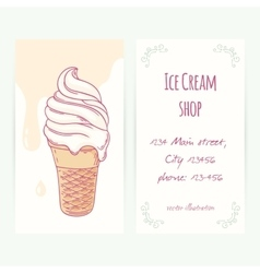 Business card template with hand drawn ice cream vector