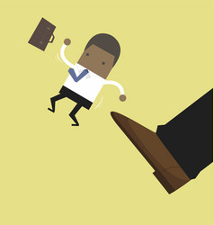 businessman being kicked out layoff concept vector image