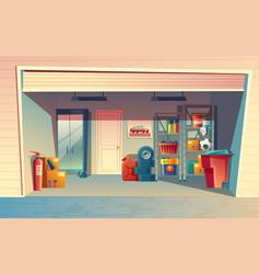 Cartoon of garage interior vector