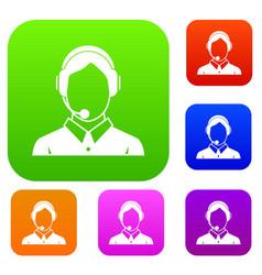 client services phone assistance set collection vector image