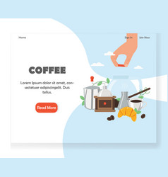 Coffee website landing page design template vector