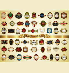 collection of colorful gold-framed labels vector image