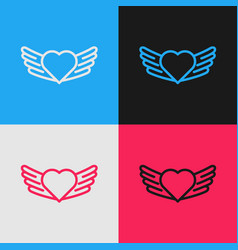 Color line heart with wings icon isolated on color vector