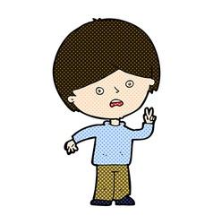 comic cartoon unhappy boy giving peace sign vector image