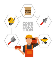Construction worker holding bricks and tools vector