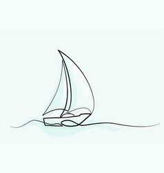 continuous line drawing sailboat vector image
