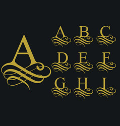 Curly font calligraphic alphabet vector