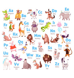 cute animal alphabet color kids zoological font vector image