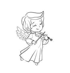 Cute baby angel making music playing violin vector image