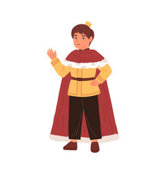 cute little boy wearing king costume at carnival vector image