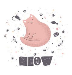 Cute textured cartoon cat and lettering vector