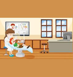 Dentist and child scene vector