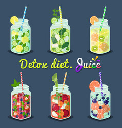 Detox diet juices with fruits vector