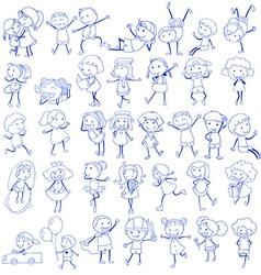 Doodle design of people doing different activities vector image