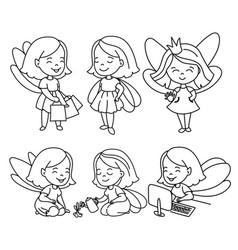 Doodle girls set vector