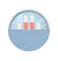 Drawing medication capsule pills vector