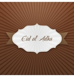 Eid al-Adha greeting paper Badge vector