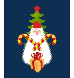 Emblem of Christmas Santa Claus and gift Mint vector image