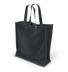 Empty black 3d eco bag isolated on white ba vector