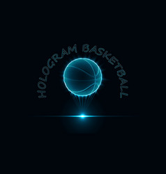 Eps10 hologram a basketball ball neon glow of vector