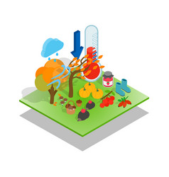 Fall concept banner isometric style vector