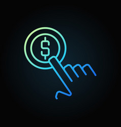 Finger with coin colored line icon on dark vector