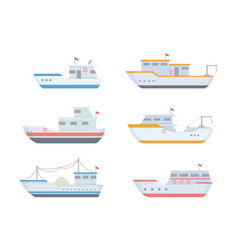 fishing boat set collections with various size vector image