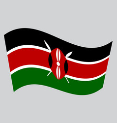 Flag of kenya waving on gray background vector