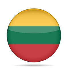 Flag of lithuania shiny round button vector