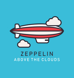 flat image zeppelin in lineart style vector image