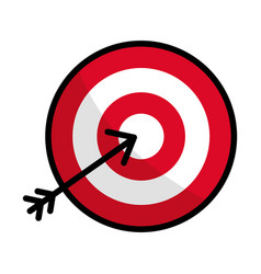 Flat line icon arrow hitting a target vector
